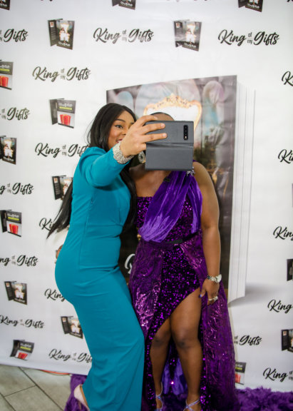 two ladies doing selfie